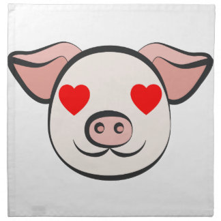 Pig Heart Emoji Napkin