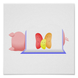Pig In A Blue Blanket And Beans Print