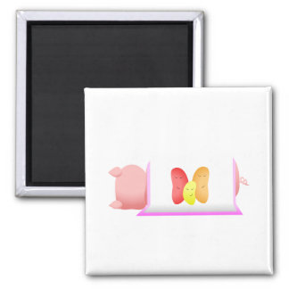 Pig In A Pink Blanket And Beans Fridge Magnet