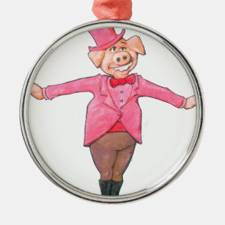 Pig in a Top Hat Silver-Colored Round Decoration