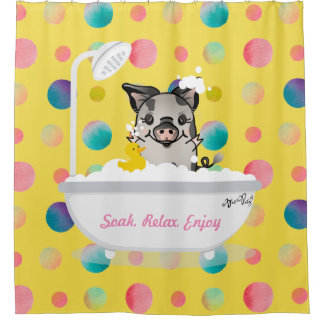 Pig In A Tub Watercolor Dots Shower Curtain
