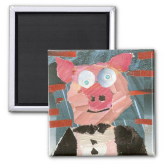 Pig in a Tux Square Magnet