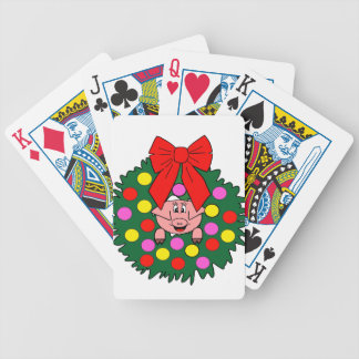 Pig in Christmas wreath Bicycle Playing Cards