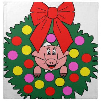 Pig in Christmas wreath Napkin