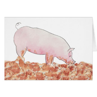 Pig in mud funny novelty art greetings card