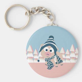 Pig in Winter Keychain