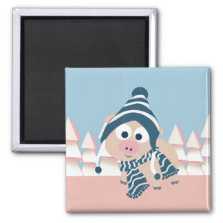 Pig in Winter Magnet