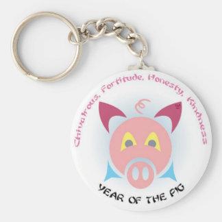 Pig Keys Basic Round Button Key Ring
