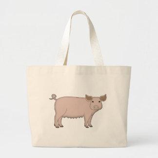 pig large tote bag