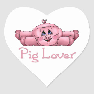Pig Lover Heart Sticker