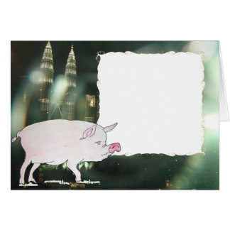 pig & Malaysia Petronas Twin Towers Card