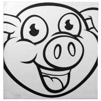 Pig Mascot Cartoon Character Napkin
