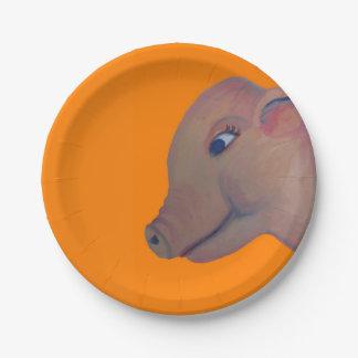 pig on orange paper plate