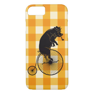 Pig or Hog Riding a Penny Farthing Bike iPhone 8/7 Case