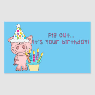 Pig Out Birthday Stickers
