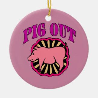 Pig Out Christmas Tree Ceramic Ornament