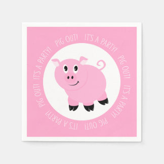 Pig Out It's A Party Cute Pink Piggy Birthday Paper Napkin