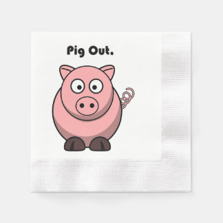 Pig Out Pink Piggy or Hog Barbeque Cartoon Disposable Serviettes