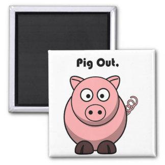Pig Out Pink Piggy or Hog Barbeque Cartoon Square Magnet