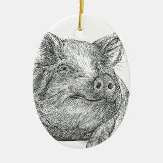 Pig Piglet Ceramic Oval Decoration