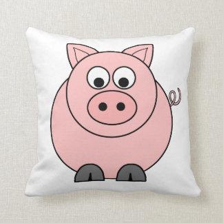 Pig Pink Cartoon Throw Pillow
