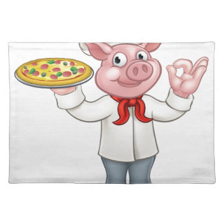 Pig Pizza Chef Cartoon Character Mascot Placemat