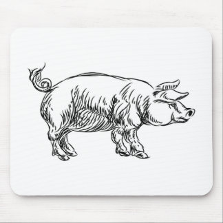 Pig Pork Food Grunge Style Hand Drawn Icon Mouse Pad