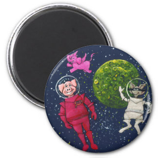 Pig, Raccoon and Pink Elephant 6 Cm Round Magnet