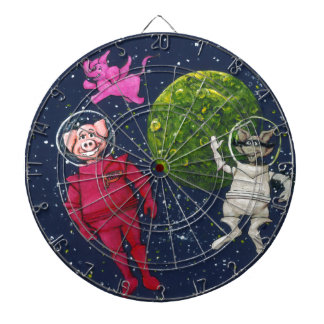 Pig, Raccoon and Pink Elephant Dartboard