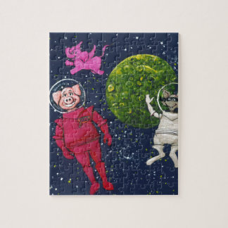 Pig, Raccoon and Pink Elephant Jigsaw Puzzle