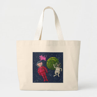 Pig, Raccoon and Pink Elephant Large Tote Bag