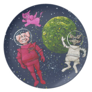 Pig, Raccoon and Pink Elephant Plate
