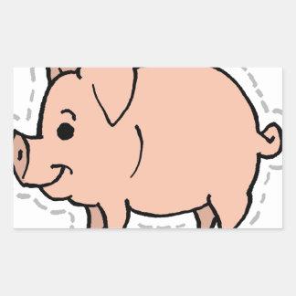 PIG RECTANGULAR STICKER