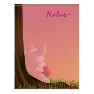 pig, Relax~ Postcard
