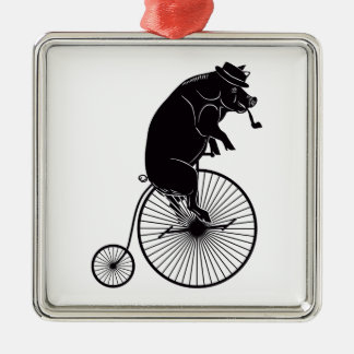 Pig riding a Bike Metal Ornament
