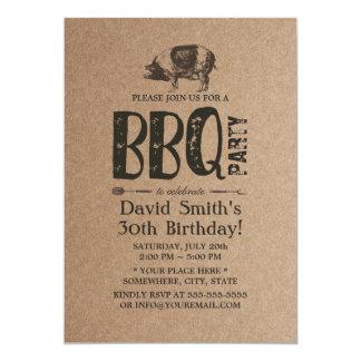 Pig Roast BBQ Birthday Party Rustic Kraft Card