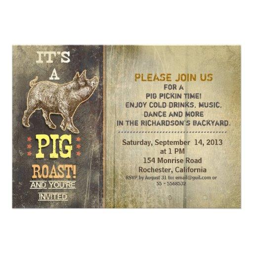 pig roast old vintage party invitations