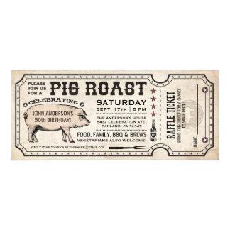Pig Roast Ticket Invitations with Raffle Ticket v1