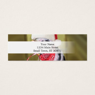 Pig santa claus - christmas pig - piglet mini business card