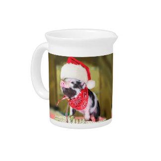Pig santa claus - christmas pig - piglet pitcher