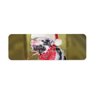 Pig santa claus - christmas pig - piglet return address label