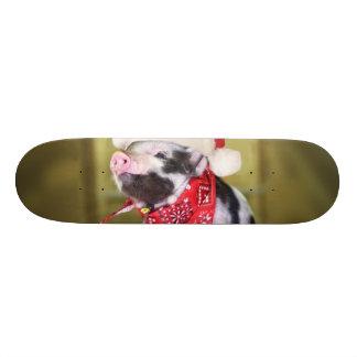 Pig santa claus - christmas pig - piglet skateboard decks
