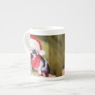 Pig santa claus - christmas pig - piglet tea cup