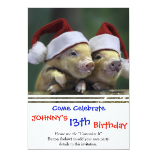 Pig santa claus - christmas pig - three pigs card