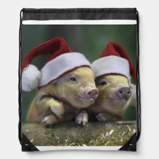 Pig santa claus - christmas pig - three pigs drawstring bag