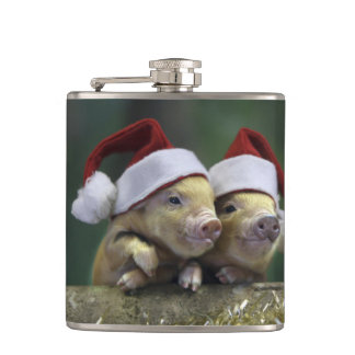 Pig santa claus - christmas pig - three pigs hip flask