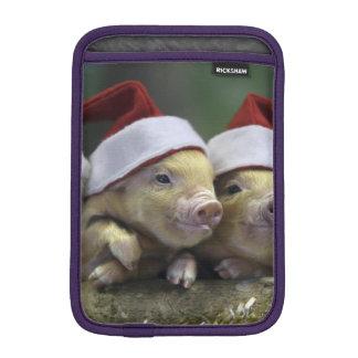 Pig santa claus - christmas pig - three pigs iPad mini sleeve