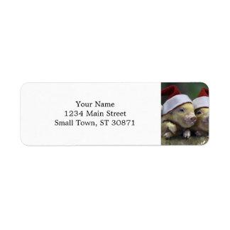 Pig santa claus - christmas pig - three pigs return address label