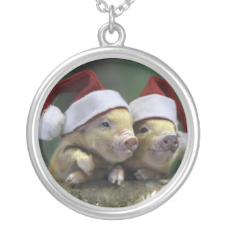 Pig santa claus - christmas pig - three pigs silver plated necklace