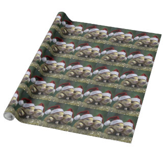Pig santa claus - christmas pig - three pigs wrapping paper